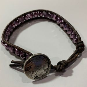 Indian Head Nickel purple glass leather bracelet